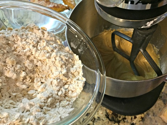Add the oat mixture to the sugar mixture.
