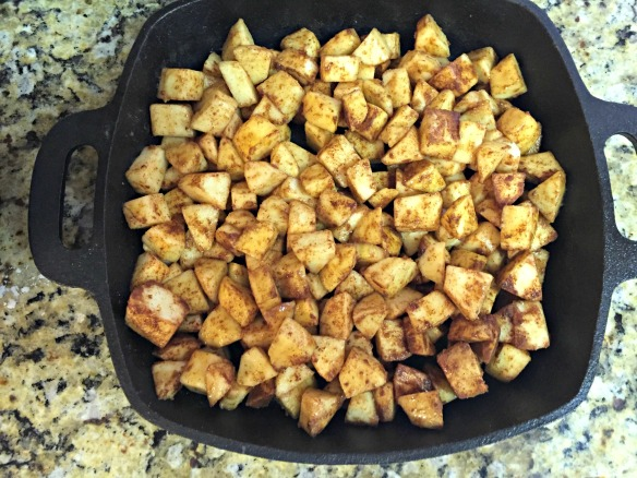 Pour the apple mix into baking pan.
