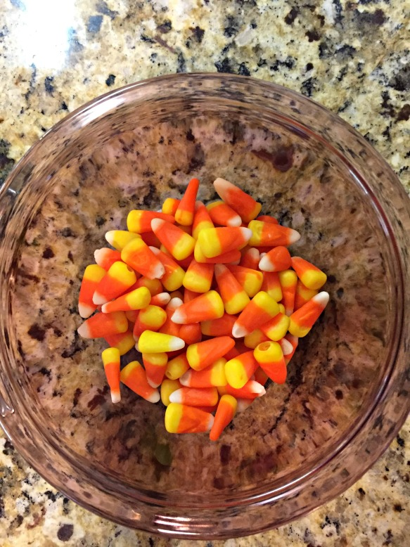 Candy Corn in a bowl.