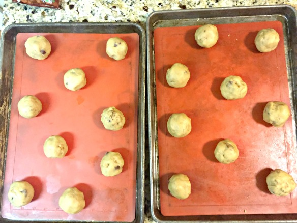 Scoop out the dough into 1/3 cup balls. Place on lined cookie sheet.
