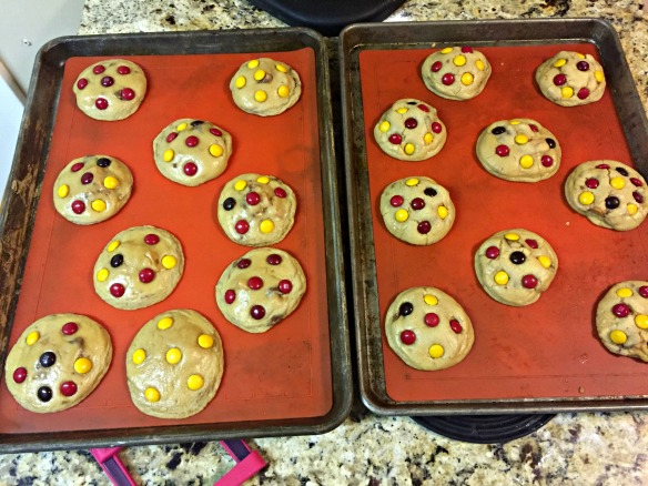 Bake for 8 minutes at 350, remove from oven and immediately and quickly press in the M&Ms.
