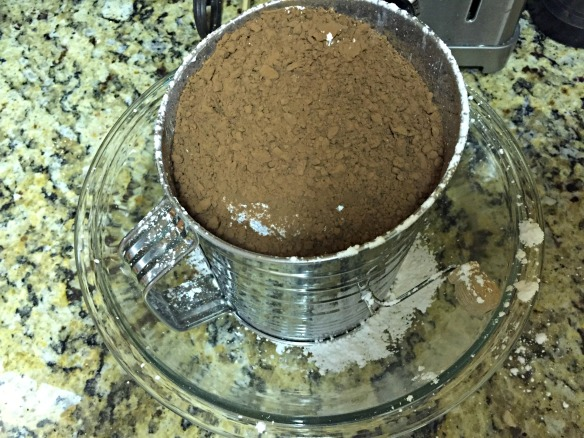 Sift the powdered sugar and cocoa powder together.