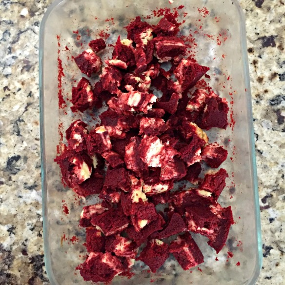 Your leftover Red Velvet Cheesecake Brownie scraps.