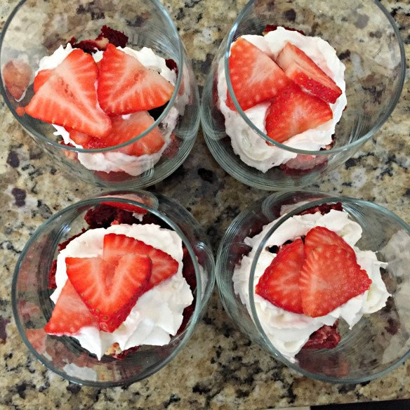 And finish with sliced strawberries. Eat up, buttercup!