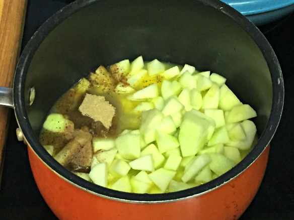 Add apples to a pot with orange juice, lemon juice, brown sugar, and nutmeg. Simmer on medium-high until the juice becomes a thin syrup and the apples are tender.