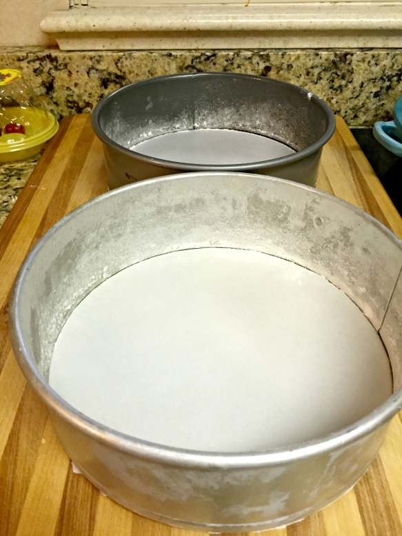 Put parchment paper on the bottom of the pans.