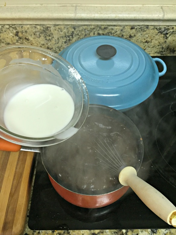 When the cocoa mixture comes to a boil, whisk in the cornstarch mixture. Continue to whisk for about 3 minutes. The mixture will become very thick.