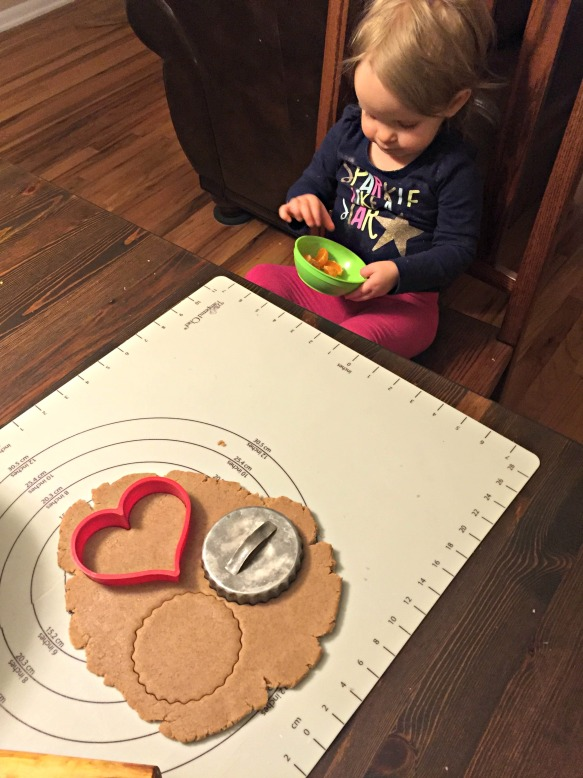 Use a cookie cutter to cut out shapes. If you need to take a break to eat an orange, go for it!