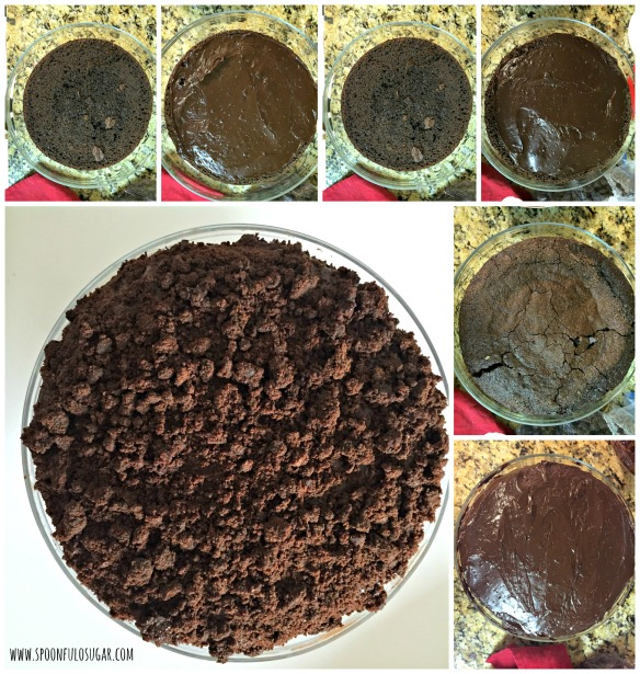 There are 3 cake layers that you'll need to layer with the filling. Here's the order: cake, 1 1/2 cups filling, cake, 1 1/2 cups filling, top cake layer, coat the entire cake with the remaining filling, press the cake crumbs all over the outside of the cake. Refrigerate the cake for at least 1 hour before slicing and serving.