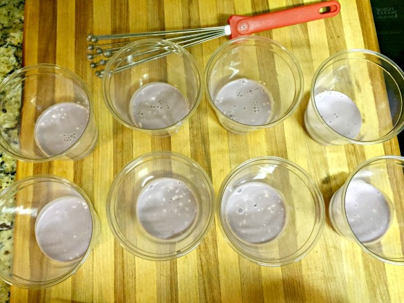 Divide equally between cups (I used 8 oz. plastic cups). Refrigerate until set.