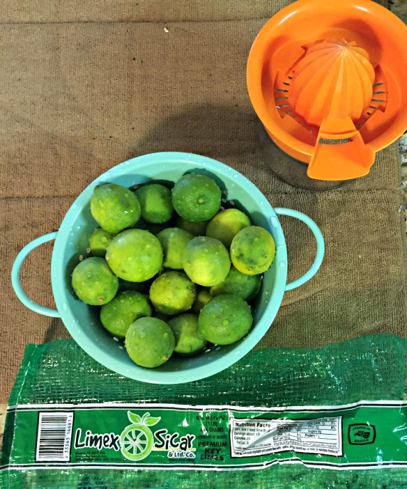 How many key limes does it take to get 1/2 cup of juice?