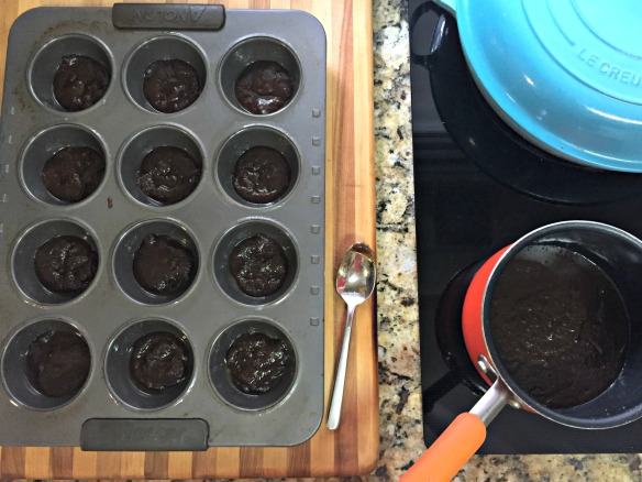 Generously spray a muffin pan and place a spoonful of the brown sugar mixture into each cup.