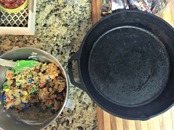 "Spray a 10"" cast iron skillet and press the cookie dough into the pan."