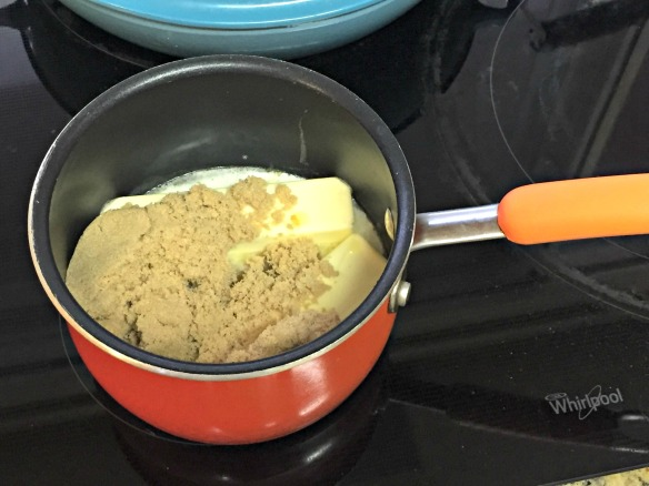 Put butter and brown sugar in a saucepan over medium heat.