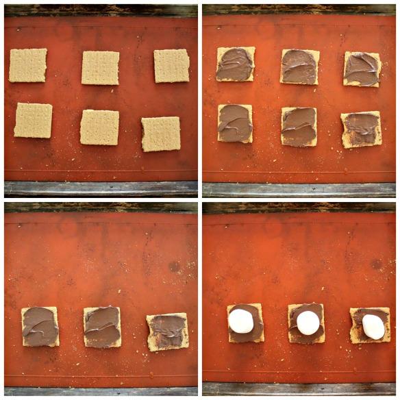 Spread graham crackers with Nutella. Top half of the graham crackers with marshmallows and place under broiler.