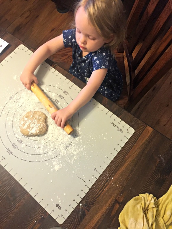 Roll out pie crust. I called in the dough-rolling expert for this part.